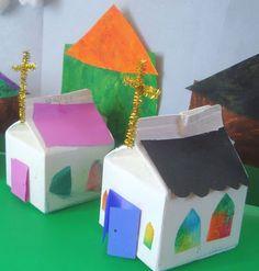 Igrejas feitas de caixa de leite, para quando as ofertas forem para construir igrejas.
