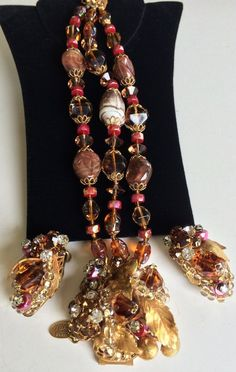 Fabulous Vintage Miriam Haskell Bracelet Earring Set~Beads/RS/Filigree~Signed