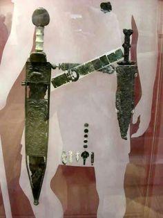 Roman crossing belts (cingulum) with gladius and pugio. British museum