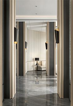 融创中国·融创清远·清城首府销售中心_腾讯家居 Hotel Hallway, Hotel Corridor, Modern Interior Design, Luxury Interior, Interior Architecture, Wall Panel Design, Column Design, Hotel Room Design, Lobby Design