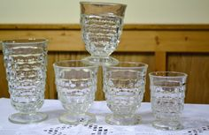 Vintage Clear Whitehall Cubist Footed Glasses Set by PanchosPorch, $17.50
