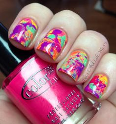 Paint Splatter Nails dip straw in polish and hold over your nail then blow through the straw with a quick burst of  air