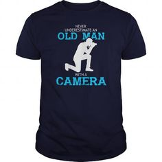 An Old Man With A Camera T Shirt