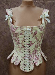 AliceCorsets READY TO WEAR ~ Toile Pastoral Scenes Rococo Baroque Stay ~ Historical Overbust Corset ~ 18th century Stays ~ Marie Antoinette Cotton Corset