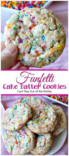 Funfetti Cake Batter Cookies Cant Stay Out of the Kitchen these fantastic cookies are so quick and easy to make since they start with a cake mix Add lots of funfetti sp. Cookie Desserts, Just Desserts, Cookie Recipes, Delicious Desserts, Yummy Food, Cake Batter Cookies, Funfetti Cookies, Sprinkle Cookies, Shortbread Cookies