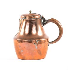 """- 19th century copper teapot - Features side handle and hinged lid - Made in France - Dimensions: 8""""H X 8-1/2""""W"""