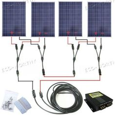 400W Solar Panel Complete Kit:4Ã100W Solar Panel with MPPT 24V Home Solar System