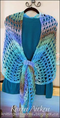 Knitting With Looms ♥LLKW♥ Finished 'Waves of Lace' Shawl