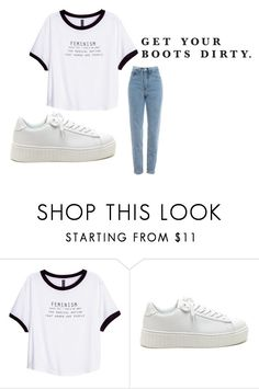 """Feminism"" by bambi2014 ❤ liked on Polyvore featuring H&M and SOREL"
