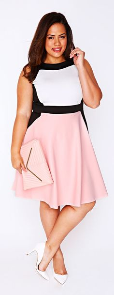 Plus Size Color Block Skater Dress big size fashion http://amzn.to/2kRZpiY