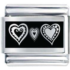 Love Charm Bracelets Italian Charms - hearts &  love two heart laser italian charm bracelets Image.