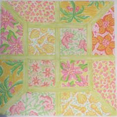 Patchwork of Lilly-inspired Patterns with Lattice - Large Square in Yellows, Pinks & Corals  16 x 16, 13 mesh