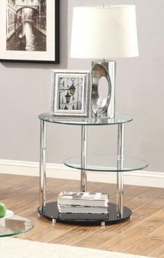 Coaster Home Furnishings 702707 Contemporary End Table, Chrome Coaster Home Furnishings