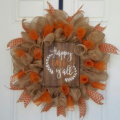 Best Ideas To Create Fall Wreaths Diy 115 Handy Inspirations 069 Fall Mesh Wreaths, Fall Deco Mesh, Diy Fall Wreath, Wreath Crafts, Fall Diy, Deco Mesh Wreaths, Holiday Wreaths, Wreath Ideas, Burlap Wreaths