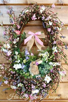 NEW Easter Wreath, Spring Grapevine Wreath, Floral Grapevine Wreath, Bunny Wreath, Front Door Wreath Front Door Decor, Wreaths For Front Door, Door Wreaths, Grapevine Wreath, Summer Wreath, Spring Wreaths, Diy Door, Easter Wreaths, Spring Crafts