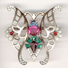 Mazer (unsigned) Sterling Multicoloured Butterfly Pin