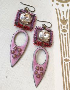 Pink purple red enamel earrings long  earrings by ButtonedUpBeads