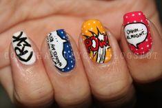 Roy Lichtenstein Inspired Nail Art Design