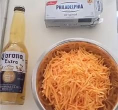 Corona Queso: boil beer, melt in cream cheese and cheese