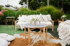 Jess + Matt's Byron Bay wedding was a luxe bohemian love-fest rich with colour, texture and beautiful details. Planned and styled by The Events Lounge. Boho Garden Party, Byron Bay Weddings, Love Fest, Low Tables, Outdoor Furniture Sets, Outdoor Decor, Real Weddings, Wedding Stuff, Wedding Planning