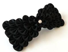 Kanzashi fabric flower french barrette.  Black bow by JuLVa