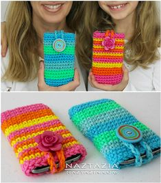 How To Make Crochet Cell Phone Pouch Video Instructions Diy Phone Pouches, Cell Phone Pouch, Diy Phone Case, Crochet Gifts, Easy Crochet, Free Crochet, Crochet Phone Cover, Leather Cell Phone Cases, Cell Phone Deals
