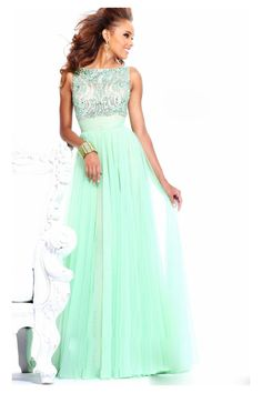 A-line Bateau Sleeveless Tulle Prom Dress/Evening dress With Beading #FG039