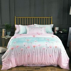 Add soft touch to a bedroom with these Ombre bedding sets. These high style Ombre bedding sets are solid colored creates a quiet and relaxing mood in your bedroom, and Ombre color combined retaining a classic look. Girls Bedroom Canopy, Girls Bedroom Sets, Small Room Bedroom, Teen Girl Bedrooms, Home Decor Bedroom, Bedroom Ideas, Teen Bedding Sets, King Size Bedding Sets, Comforter Set