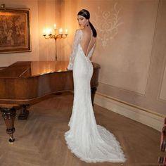 2015 Berta Mermaid Charming Lace Applique Wedding Dresses Detachable Chiffon Cloak Bateau Neck Long Sleeve Backless Long Bridal Gowns 2016