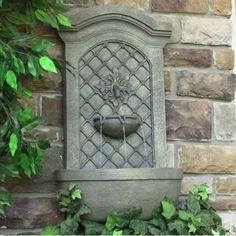 Outdoor Solar Rosette Wall Fountain French Limestone Lawn Garden Water Feature