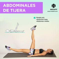 Abdominales de tijera. Ideales para trabajar abdomen bajo y medio.