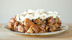 With marshmallows, peanut butter cups, caramel and whipped cream, this monkey bread is definitely decadent!