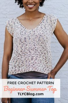 The Summertime Tank, a sleeveless summer cotton top – TL Yarn Crafts – The Best Ideas Crochet Tank Tops, Crochet Summer Tops, Crochet Shirt, Crochet Sweaters, Crochet Vests, Crochet Top Outfit, Crochet Patterns For Beginners, Easy Crochet Patterns, Free Crochet