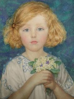 Young Girl with Primroses MISS MARGARET W. TARRANT (1888-1959)