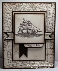Here's a card that I made using The Open Sea and World Map Stamp Set. I kept this card monochrome with Early Espresso, and Very Va...