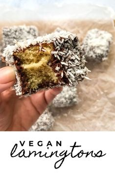 Coconut, chocolate, a light and fluffy sponge. These vegan lamingtons are the perfect afternoon tea treat. Healthy Vegan Desserts, Vegan Dessert Recipes, Vegan Treats, Vegan Snacks, Vegan Vegetarian, Vegan Food, Cake Recipes, Healthy Eating, Chocolate Recipes