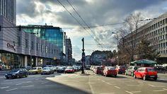 Nori şi soare pe b-dul Dacia, spre Romană. Romania, Street View, Bucharest