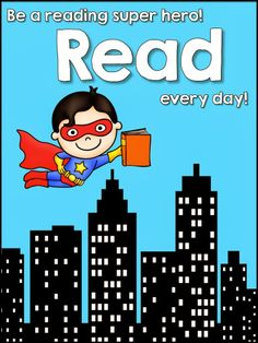 New Year's Resolution Freebie! Inspiration for a library bulletin board - superheroes read!