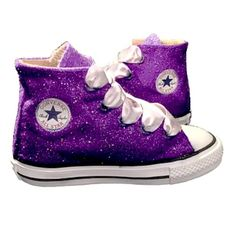 Kids Sparkly Glitter Converse All Stars Bling Crystals Flower Girls  birthday Shoes Purple Plum 6fa2ad5bbd59