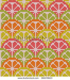 Knitted seamless pattern citrus mix