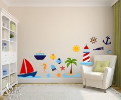 Fabric wall decals set for nursery or kids rooms ocean kids room fabric wall decal set for boys nursery and kids rooms nautical beach room wall decor ppazfo