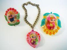 Vintage 1967 Jewelry Kiddles, Vintage Mattel Toys, Kiddles Ring, Kiddles Bracelet, Kiddles Pin, Kiddles Jewelry Set Of Three, Liddle Kiddles by AmericanTribalSurfer on Etsy https://www.etsy.com/listing/484158361/vintage-1967-jewelry-kiddles-vintage