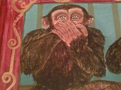 circus monkey close-up, speak no evil.