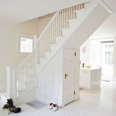 white + staircase + storage. (livingetc)