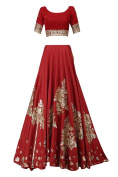 Red and gold badla work lehenga set available only at Pernia's Pop Up Shop.