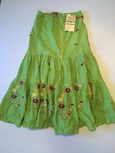 New! Da-Nang Surplus Indo-Chine Boho Drawstring Waist Embroidered Skirt Size L #DaNang #PeasantBoho