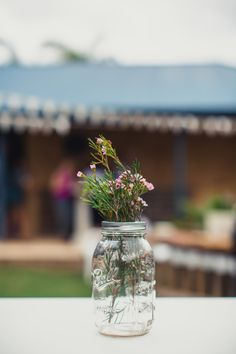 Mason Jar and Geraldton Wax, engagement party decor.