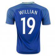 2016 Brazil Soccer Team WILLIAN 19 Away Replica Jersey [D719]