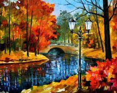 XiNature.com - River Painting Afremov Art Autumn Park Bridge Leonid Full Hd Wallpaper