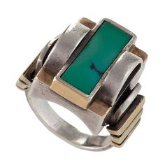 Jean Després Art Deco Turquoise Silver Gold Ring | From a unique collection of vintage cocktail rings at https://www.1stdibs.com/jewelry/rings/cocktail-rings/